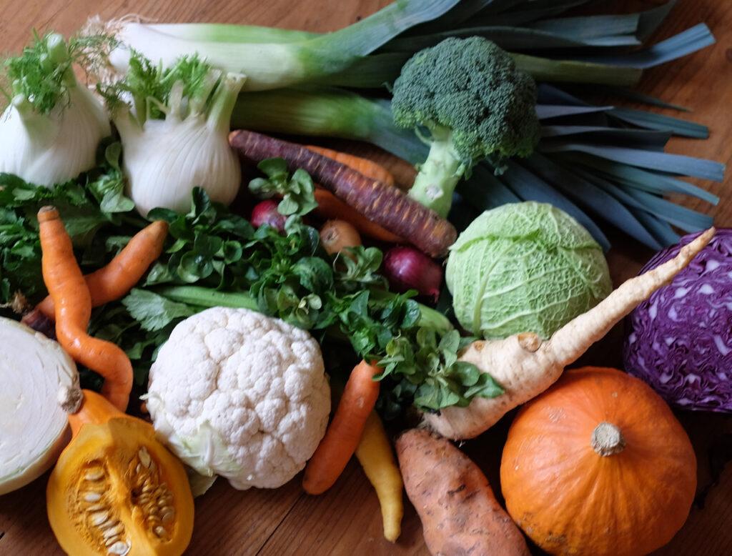 Verschiedene Gemüsesorten liegen auf einem Tisch.