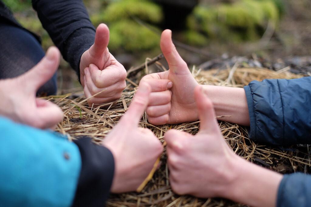 Drei Hände zeigen mit dem Daumen nach oben